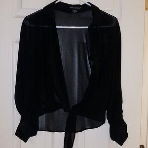 American Dream Black Sheer Tie Crop Top